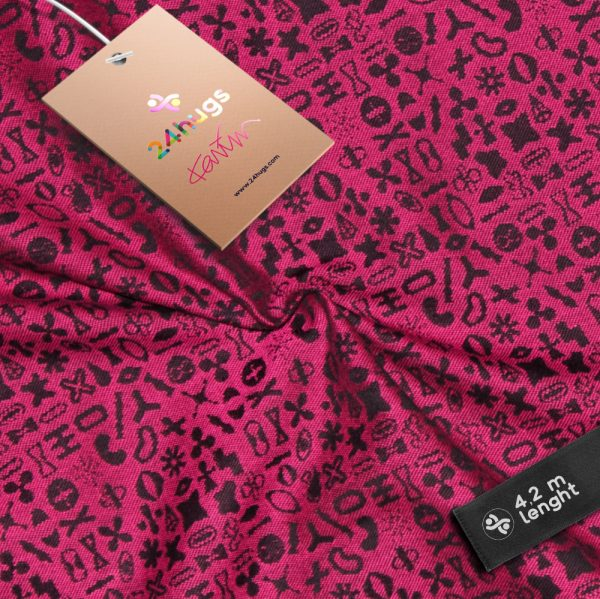 24hugs 4,2m baby sling  pink-black 1